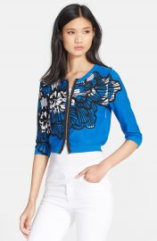 Tracy Reese Print Front Zip Cardigan at Nordstrom