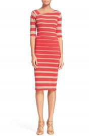 Tracy Reese Stripe Asymmetrical Neckline Sheath Dress at Nordstrom
