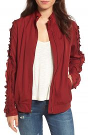 Treasure   Bond Ruffle Sleeve Bomber Jacket at Nordstrom