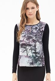 Tree Print Colorblocked Top  LOVE21 - 2000057470 at Forever 21