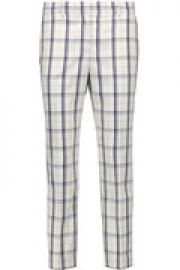 Treeca cropped checked wool-blend straight-leg pants at The Outnet