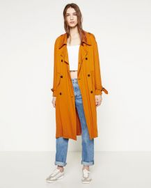 Trench Coat with Horn Button at Zara