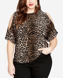 Trendy Plus Size Cold-Shoulder Leopard-Print Top at Macys