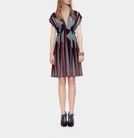 Triangle Print Silk Dress at Gucci