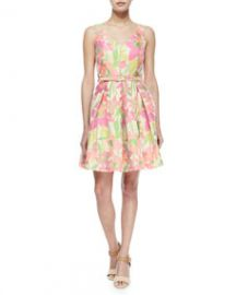 Trina Turk Martha Floral V-Neck Belted Fit-and-Flare Dress Multicolor at Neiman Marcus