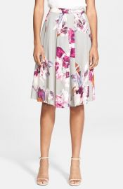 Trina Turk and39Millanand39 Print Pleated Faille Midi Skirt at Nordstrom