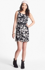 Trixxi Back Cutout Print Skater Dress at Nordstrom