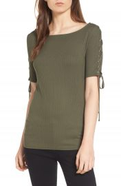 Trouv   Lace-Up Sleeve Top at Nordstrom