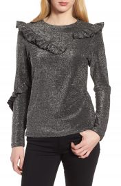 Trouv   Ruffle Metallic Top at Nordstrom