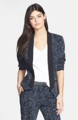 Trouv Print Contrast Lapel Blazer at Nordstrom