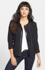 Trouv Textured Biker Jacket at Nordstrom
