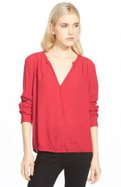 TrouvSurplice Zip Cuff Blouse in Red at Nordstrom