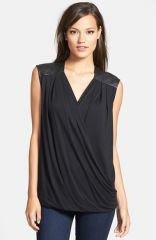 Trouvand233 Faux Leather Wrap Top at Nordstrom