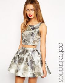 True Decadence Petite  True Decadence Petite Silver Jacquard Crop Top at Asos