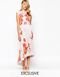 True Violet  True Violet Structured Painted Floral Print Maxi Dress With High Low Hem at Asos
