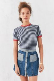 Truly Madly Deeply Jewel Stripe Ringer Tee in Green at Urban Outfitters