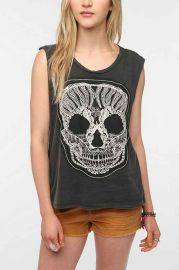 Truly Madly Deeply Lace Skull Muscle Tee at Urban Outfitters