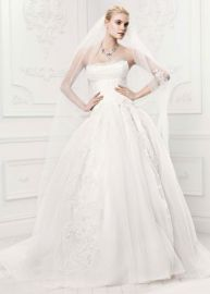 Truly Zac Posen Tulle Wedding Dress with Draping in Ivory at Davids Bridal