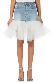 Tulle-Trimmed Denim Miniskirt  Ben Taverniti Unravel Project at Barneys