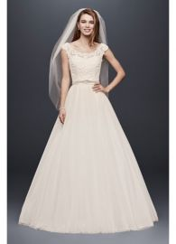 Tulle Wedding Dress with Lace Illusion Neckline at Davids Bridal