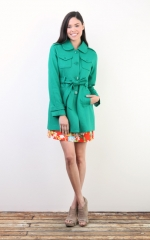 Tulle green raglan sleeve coat with epaulettes worn on PLL at Tulle