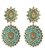 Turquoise and gold drop earrings by Yochi at Max & Chloe