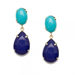 Turquoise and navy teardrop earrings at T&J Designs