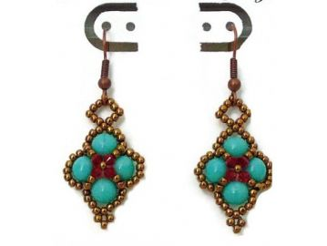 Turquoise diamond shaped earrings at Etsy