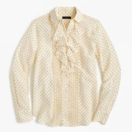 Tuxedo Ruffle Top In Polka-Dot Silk at J. Crew