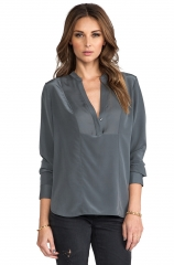 Tuxedo blouse by Vince at Revolve