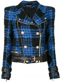 Tweed Biker Jacket by Balmain at Farfetch