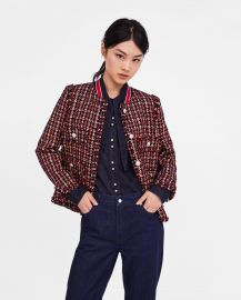 Tweed Jacket with Striped Detail by Zara at Zara
