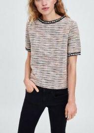 Tweed Pearl Trim Neckline Top by Zara at Zara