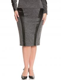 Tweed and Faux Leather Pencil Skirt at Lane Bryant