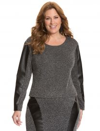Tweed and Faux Leather Pencil SkirtTop at Lane Bryant