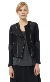 Tweed and Leather Moto Jacket at Rebecca Taylor