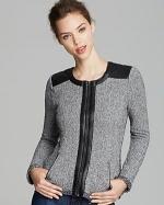 Tweed and leather jacket by Aqua at Bloomingdales