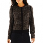 Tweed and leather trim jacket by Liz Claiborne at JC Penney