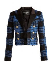 Tweed-checked satin-lapel cropped jacket at Matches