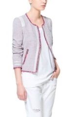 Tweed fringed jacket at Zara