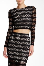 Twist Back Long Sleeve Lace Crop Top at Nordstrom Rack