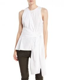 Twist-Front Sleeveless Cotton Poplin Top 3.1 Phillip Lim at Neiman Marcus