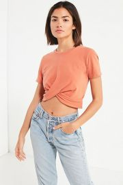 Twist Front Cropped Tee by Urban Outfitters at Urban Outfitters