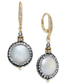 Two-Tone Freshwater Pearl Crystal Pave Drop Earrings at Macys