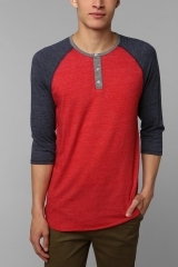 Two Tone Henley Tee at Urban Outfitters
