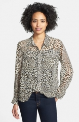Two by Vince Camuto Leopard Print Utility Blouse at Nordstrom