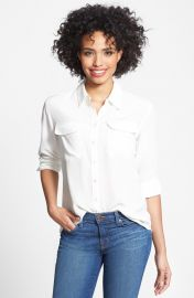 Two by Vince Camuto Silk Utility Blouse in White at Nordstrom