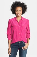 Two by Vince Camuto Silk Utility Blouse in fuschia at Nordstrom