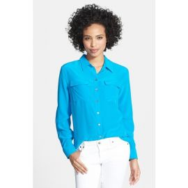 Two by Vince Camuto Silk Utility Blouse in turquoise at Nordstrom