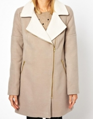 Two tone biker coat by Oasis at Asos